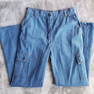 Vintage 80s High Waisted Cargo Jeans